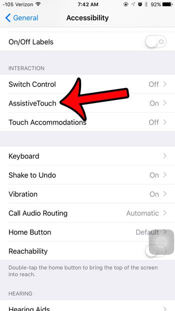 select assistive touch option