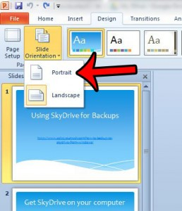switch to portrait orientation in powerpoint 2010