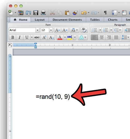 enter the sample text formula in word 2011