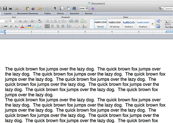 sample text in word 2011 for mac