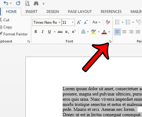 open the font menu in word 2013
