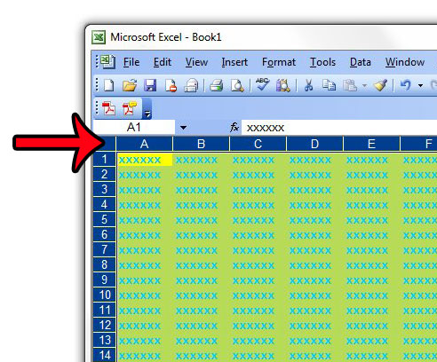 select the entire worksheet in excel 2003