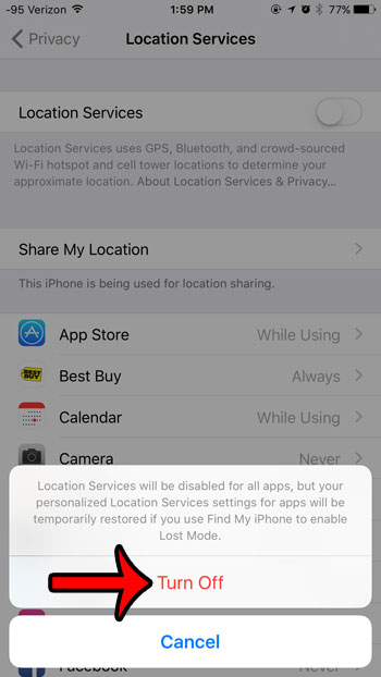 turn off location services on iphone 6
