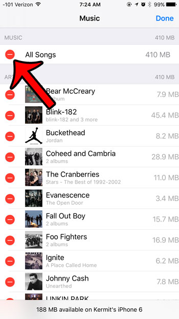 tap the red circle next to all music
