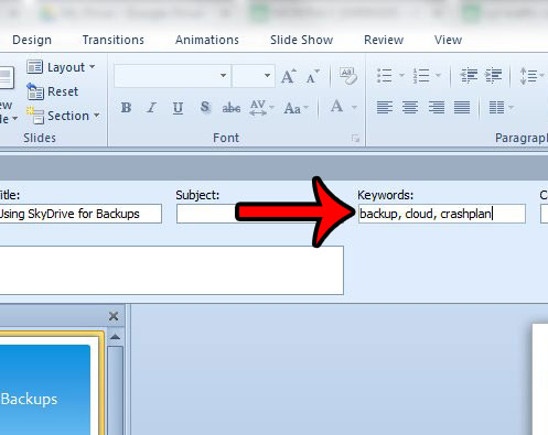 add keywords in powerpoint 2010
