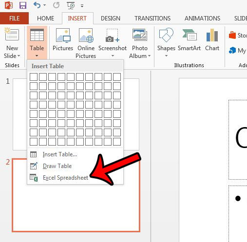 insert blank spreadsheet in powerpoint 2013