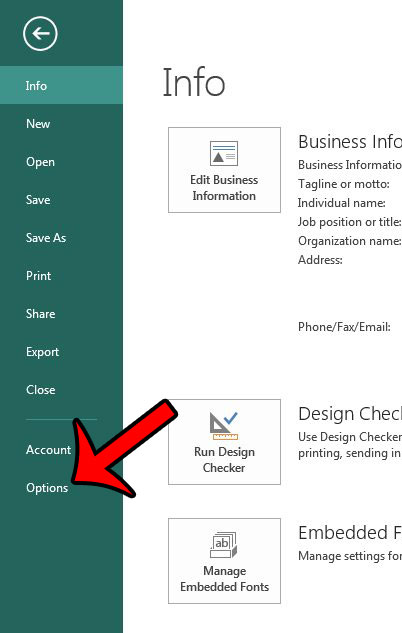 open the publisher options window
