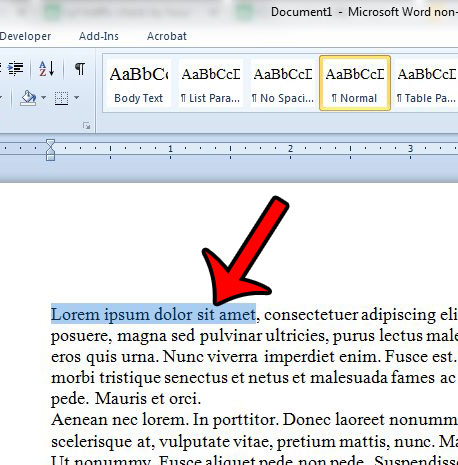 select text in word 2010 document