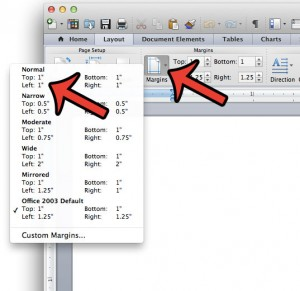 set 1 inch margins in word 2011 for mac