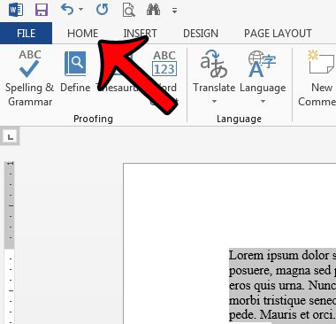 click the Home tab in word 2013