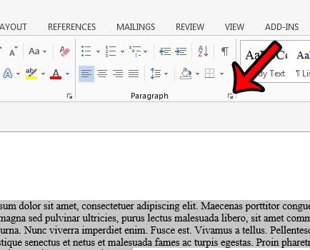 open the word 2013 paragraph settings menu