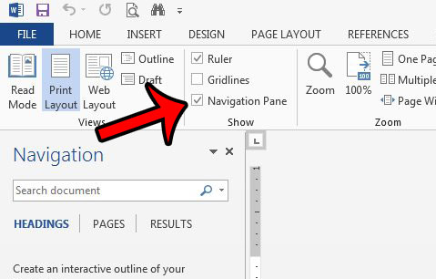 open the navigation pane in word 2013