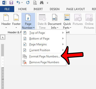 format the page numbers