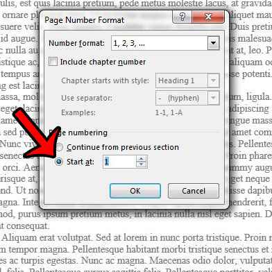 start page numbering later in word 2013