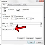 change the starting page number in excel 2013