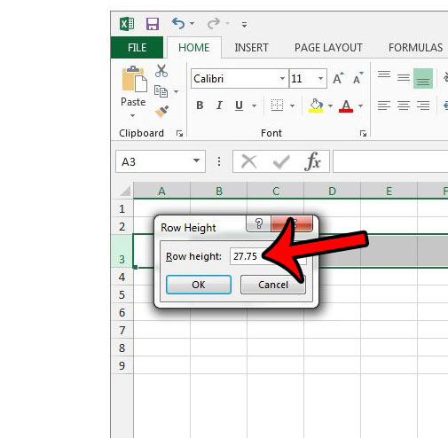 how to find row height in excel 2013