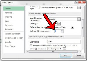 change default worksheets to one in excel 2013