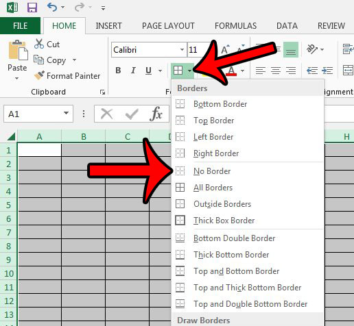 remove borders in excel 2013