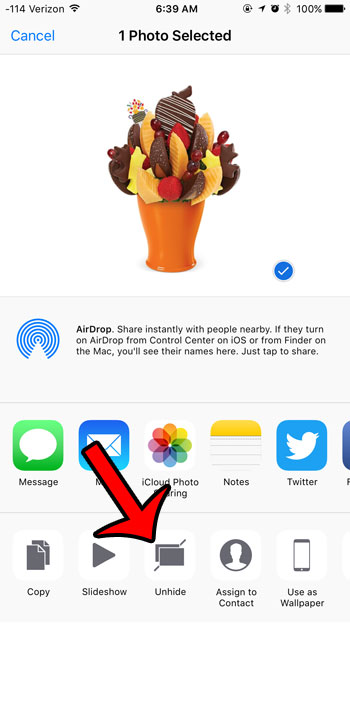 how to unhide a picture in ios 9