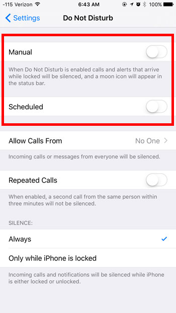 how to turn off do not disturb in ios 9