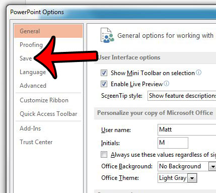 click save from powerpoint options