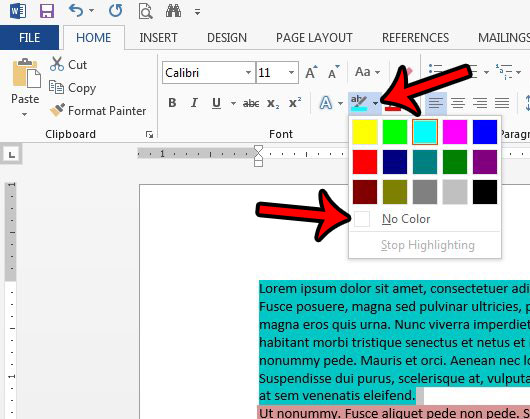 remove text highlighting in Word 2013