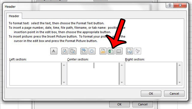 add a file name to the header in excel 2013