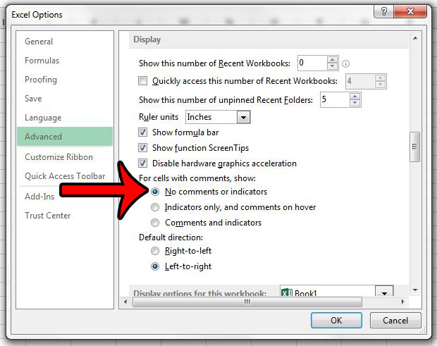 how to hide comments and indicators in excel 2013