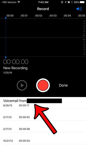 voicemail in the voice memos app
