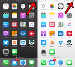why iphone battery icon switches from black to white