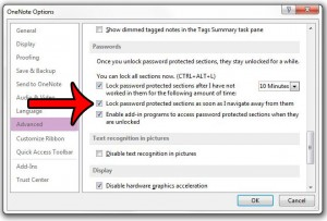 How to Immediately Lock Password-Protected Sections in OneNote 2013