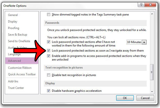 immediately lock password protected section in onenote 2013