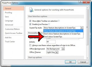 how to disable screentips in powerpoint 2013