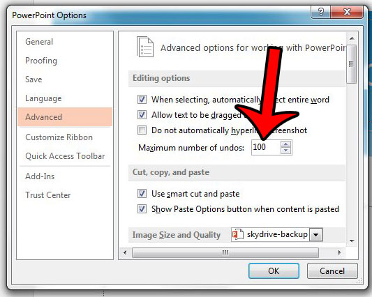 how to change maximum number of undos in powerpoint 2013