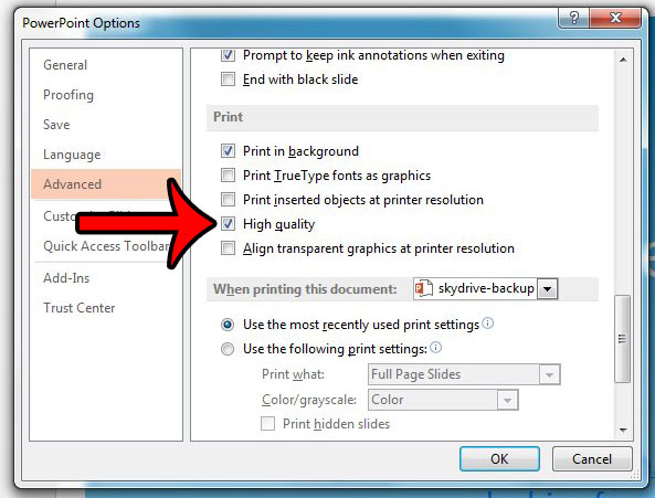 print presentatiosn at high quality by default in powerpoint 2013