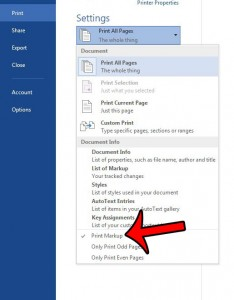 hide comments when printing in word 2013