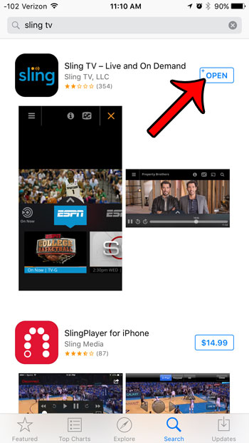 open the sling tv app