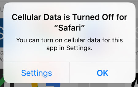 cellular data is turned off for an iphone app
