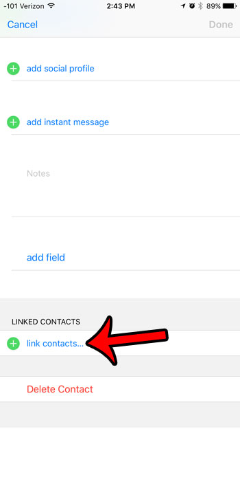 how to link contacts on iphone 6