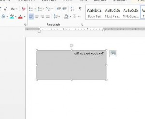 how to miror text in a text box in word 2013