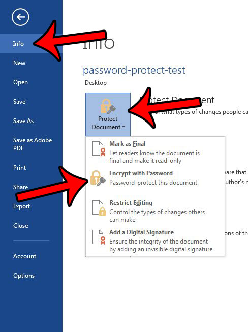 how to password protect document word 2013