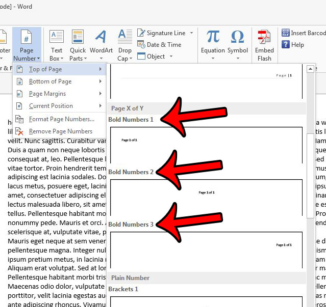 choose the section of the document location