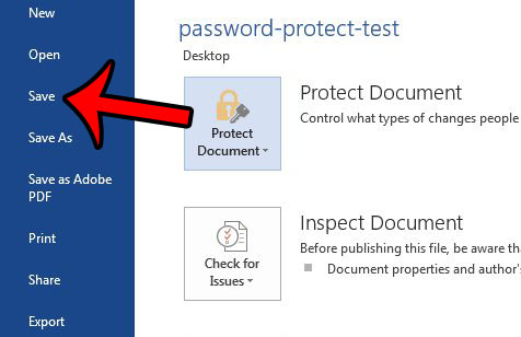 word save password protected