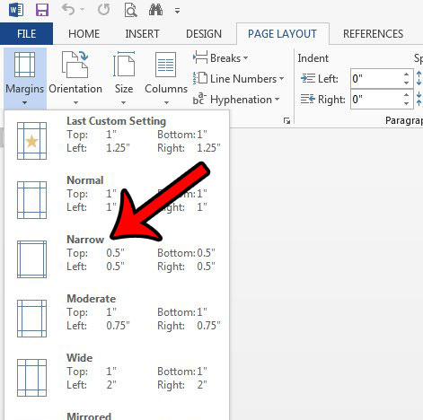 how to set narrow margins by default