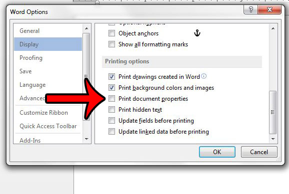 stop printing document properties in word 2013
