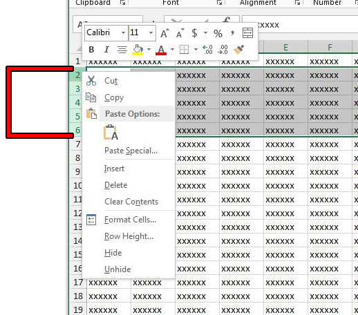 hide contiguous rows in excel 2013