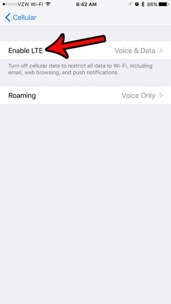 how to turn off lte on an iphone 7