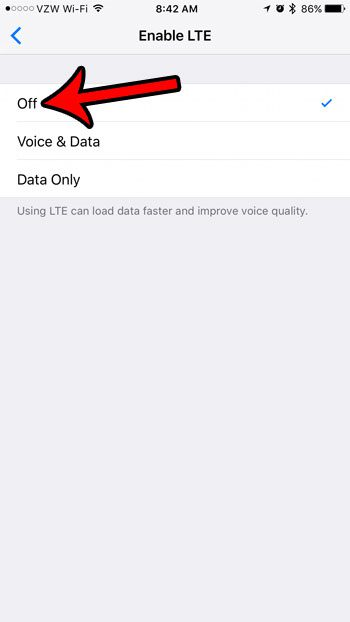how to disable lte on an iphone