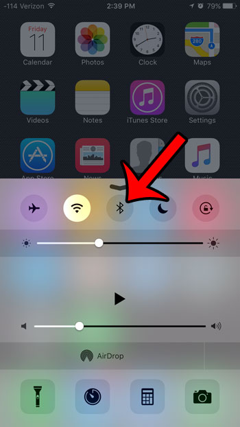 turn off bluetooth from control center