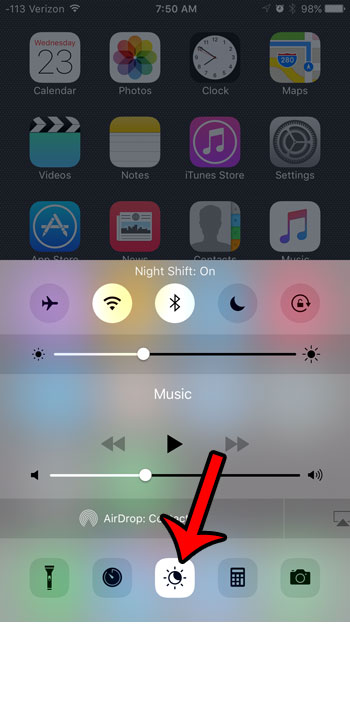 turn on night shift in control center